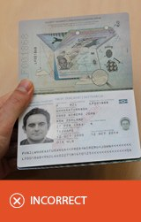 Incorrect photo - travel document.