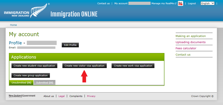 Immigration Online application screen image - click on 'create new visitor visa application' button