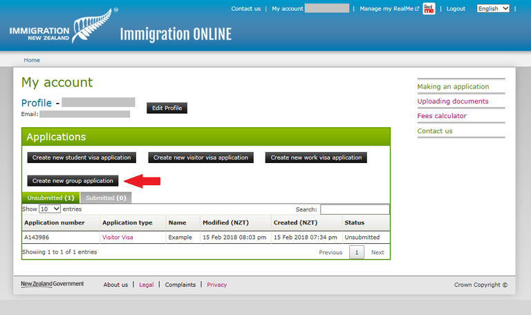 Immigration Online application screen image - Click on 'Create new group application'