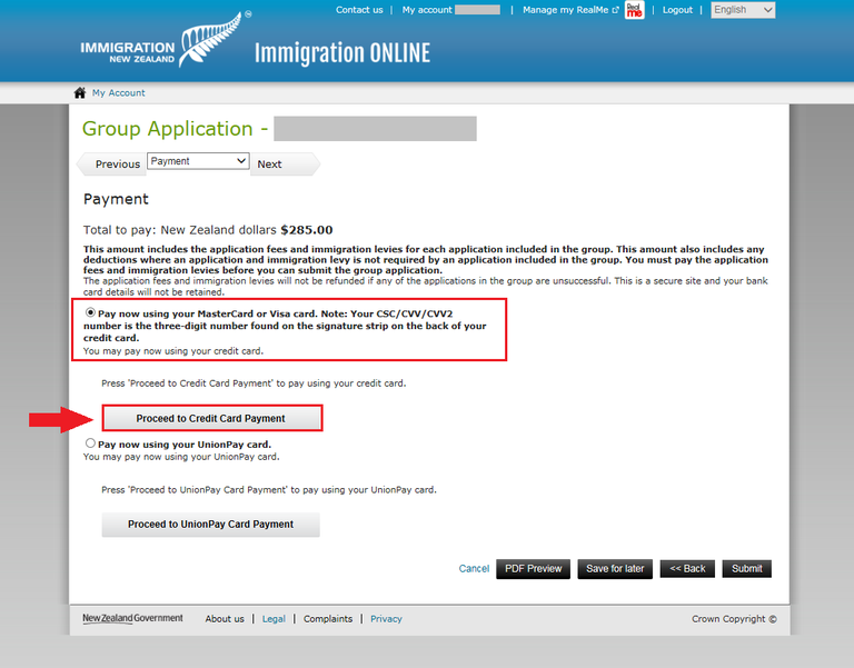Immigration Online application screen image - confirm the amount owing and how you will pay.