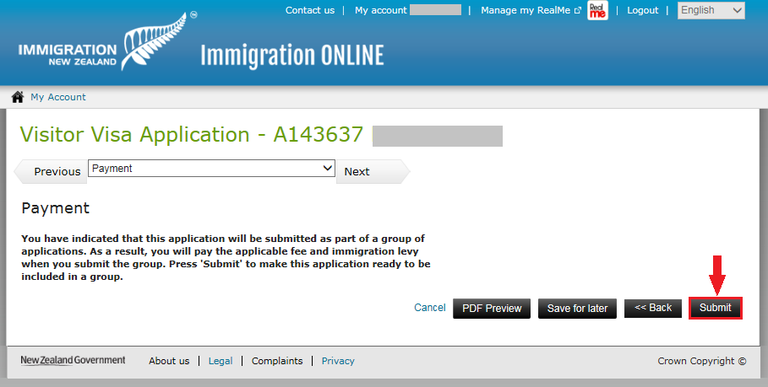 Immigration Online application image - On the payment screen, press the 'submit' button