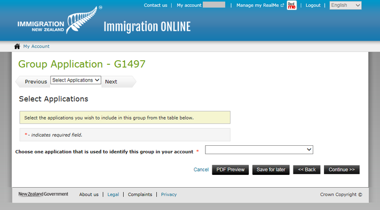 Immigration Online application screen image - selection applications to add to the group.