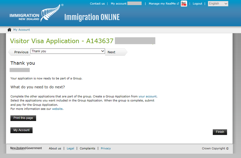 Immigration Online application screen image - Thank you screen
