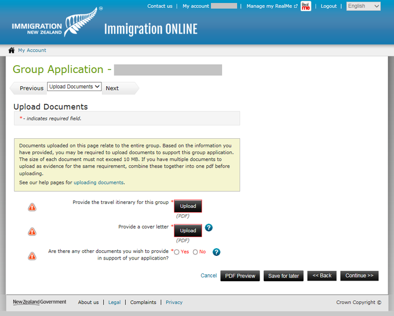 Immigration Online application screen image - upload documents relevant to the group as a whole.